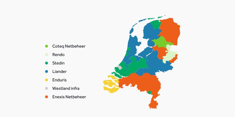 overzicht netbeheerders nederland bij vervanging ongeschikte energiemeter