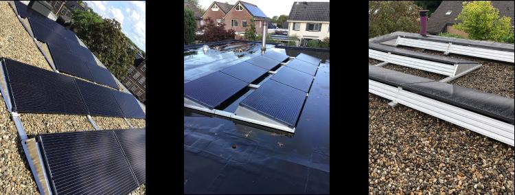 verzameling platte daken met zonnepanelen