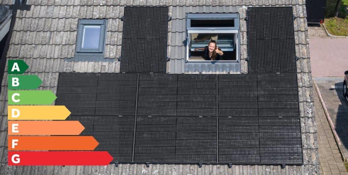 Energielabel zonnepanelen op het dak van Renate